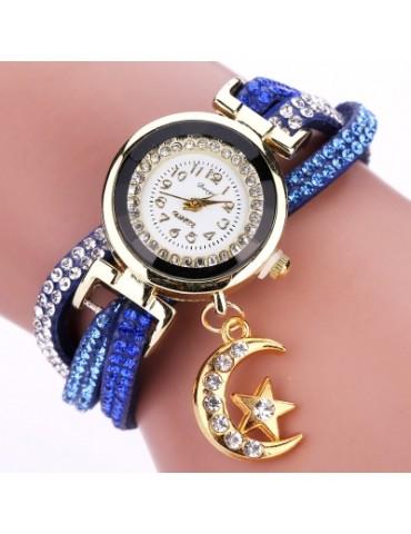DUOYA D039 Arabic Numbers Rhinestones Leather Wrist Watch with Moon Pendant
