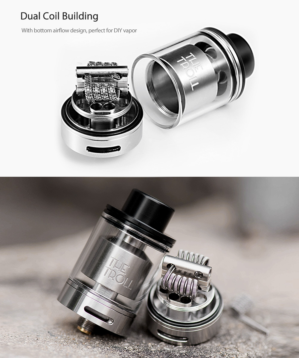 Original Wotofo The Troll RTA Atomizer with 5ml / Top Filling / Dual Coil Building for E Cigarette